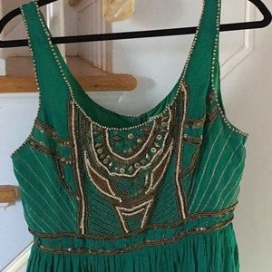 1 Hr Sale Free People Green Beaded Dress